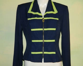 S 7/8 1980s 80s Crop Jacket Scarlett Navy & Neon  Lime Green Rayon Band Military Michael Jackson Punk Zip Front Shawl Collar