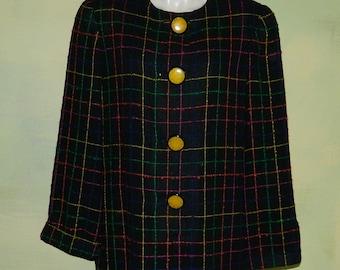 L 80s David Hayes Coat Dress Sax Fifth Avenue Slubbed Wool Windowpane Plaid Sack Dress Big Yellow Buttons