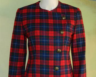 XS Pendleton Tartan Plaid Fitted Crop Jacket Scottish Crest Buttons and Asymmetrical Closure Made in the USA Red Blue and Green Tartan Plaid
