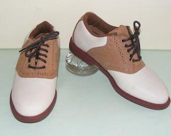 f432a7da9d2 Womens Vintage Dunlop lederen zadel Oxford Spikeless Golf schoenen maat 6 M  EURO 37 U.K. 4