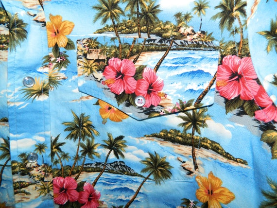 44 haut tueur Western Shirt w chemise hawaïenne pression pinces w Shirt bouton Fronts Floral Print Slim Fit 80 s Custom Made OOAK comme neuf! 48f5bf
