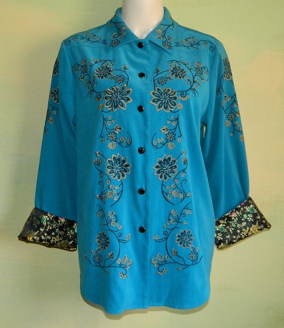 M Victor Costa Occasion Blouse Teal Blue Embroider