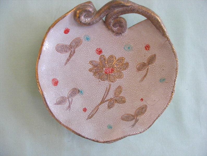 Lot 2 Mid Century Modern lave galets glaçure plat ensemble Candy plat Chunky à la main peint céramique Table basse majolique italienne Italie