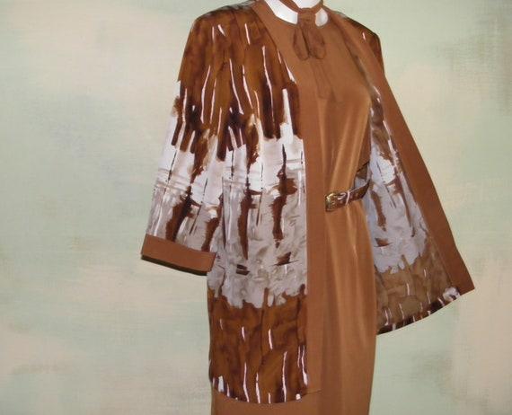 Vintage 70s 80s Dress Suit Set Soft Drape Brown Sh