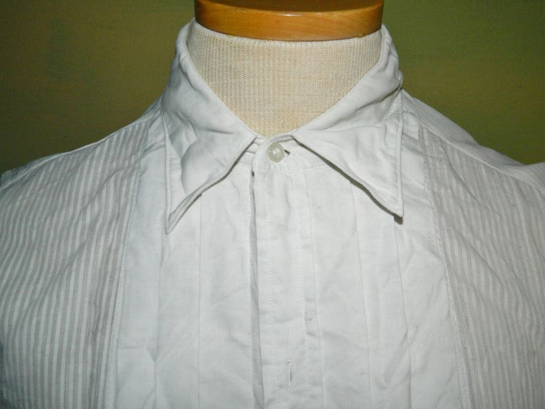 1533 Men/'s Small 30s 40s Sanforized Buttonless Tux Shirt Old West Wedding Long Sleeve Arrow Mitoga Shoreham Union Made in the U.S.A.