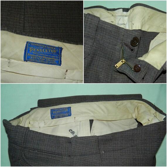 W 34 / L 34 Vintage 1940s Pendleton Wool Trapper Pants Glen Plaid Check Heavy Wool Winter Pants Hunter Ourdoorsman Men's Pants bUthZ8R