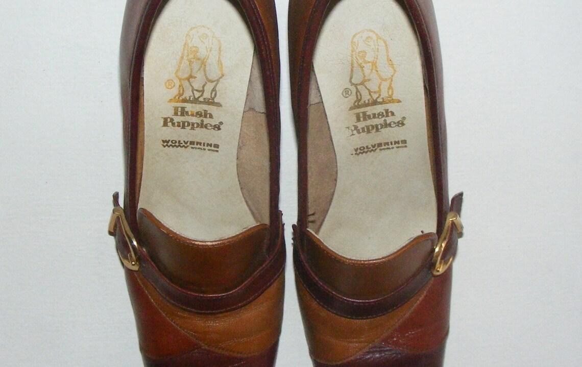 8n Vintage 60s 70s Deadstock Leather Hush Puppies Buckle Pumps - Big Sale LLzNk