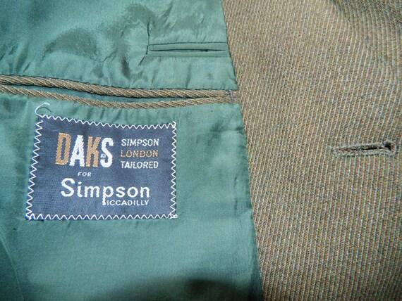 40 vintage s 70 s vintage 80 s Dark Olive Daks costume Picadilly Londres adapté trois bouton laine sergé sans ceinture à revers 688358