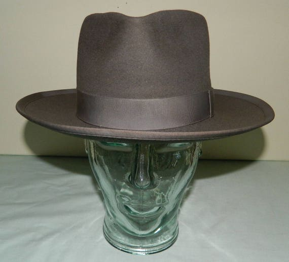 where can i buy on feet images of detailing Size 6-3/4 30s 1930s Stetson Medalist Fedora Gray Philadelphia Stetson  1930s Teardrop Crown
