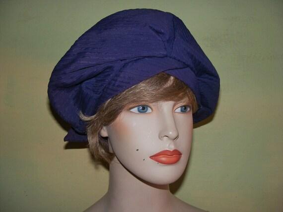 22 Vintage 30s 40s Turban Halo Hat Dark Blue Faill