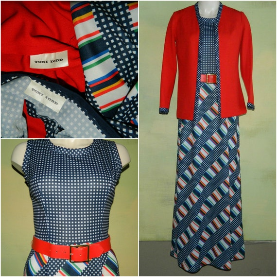 M 60s 70s Toni Todd Maxi Dress & Jacket Set Piece… - image 3