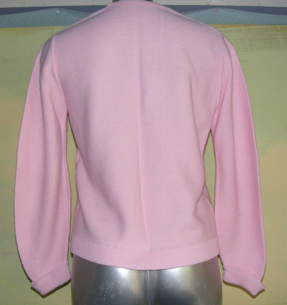 S M Pink Sweater Umbrella Embroidered Vintage 70s 80s Knit Cardigan Button Front