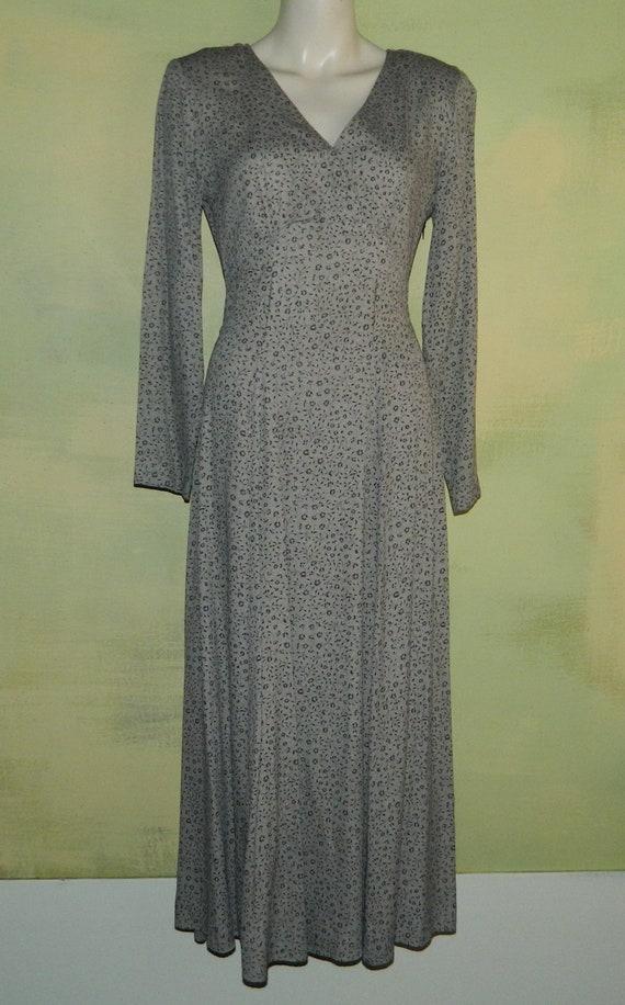 M Vintage 80s Decked Out Calico Floral Dress Black