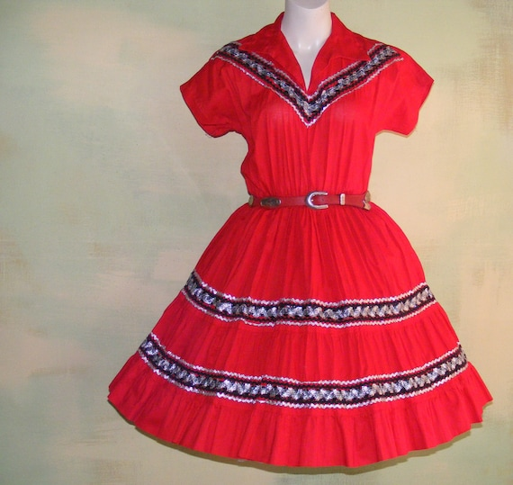 1950s Red Patio Dance Dress Swing Dance Sock Hop S
