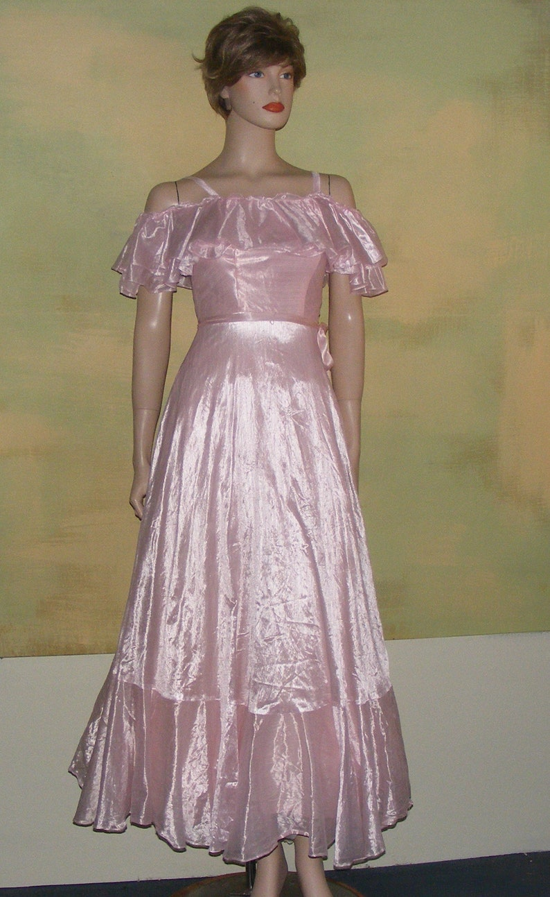 e99f80b02da XXS Vintage 70s Southern Belle Formal Dress Gown Iridescent