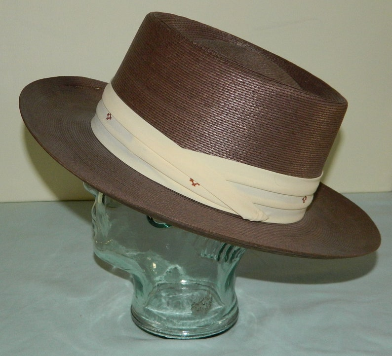 b61b1716238 Size 7 Vintage 50s   60s Stetson Medalist Straw Boater Hat