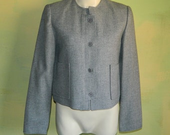 M 80s Norgail New York Gray Wool Jacket Crop Jacket High Quality Collarless Fully Lined Career Casual