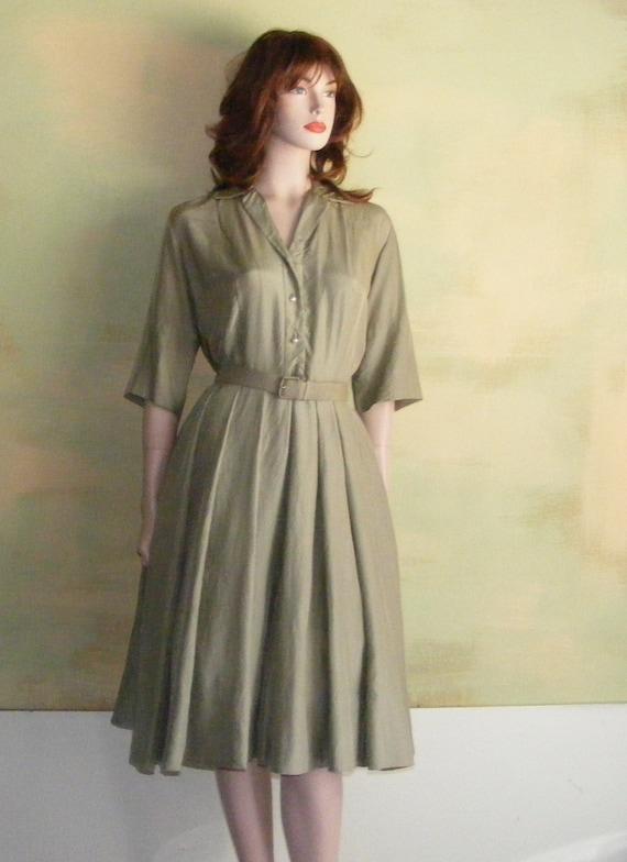 XS 1950s 50s Marjorie Montgomery Khaki Green Silk