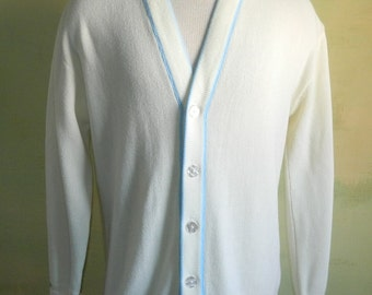 L 60s Sax Fifth Avenue Cardigan Sweater Ivory Orlon Blue Trimmed V Neck Preppy Button Front Sweater Mad Men