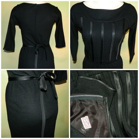 S 50s 60s Candy Jones Dress Satin Trimmed Wiggle D