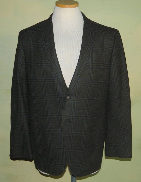 40 50s 60s Curlee Clothes Mad Men Wool Plaid Mens