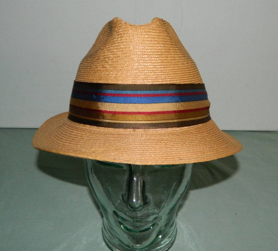 Size 7 Vintage Stetson Straw Fedora Leather Sweatband Cabana  4a4fb1d963c8