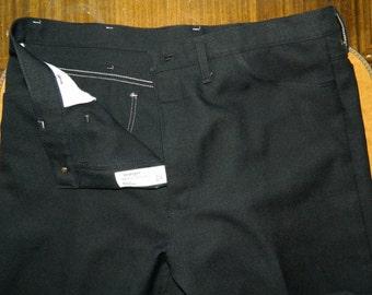 40 x 32 Vintage 70s Wrangler Black Twill Polyester Pants Slacks Made in the USA