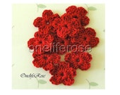 10.Pieces Mini Crochet Flowers Red, Crochet Applique ,Cotton Yarn, Scrapbooking,Sewing,Craft
