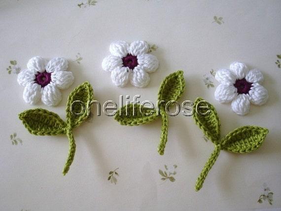 Crochet applique fiore fiore crochet scrapbooking crochet etsy