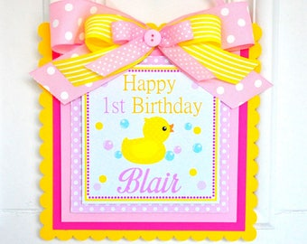 Rubber Ducky Door Sign, Welcome Door Hanger, Rubber Ducky Birthday, Rubber Ducky Baby Shower Decorations, 1st Birthday Party