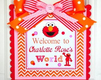 Girl Elmo Sign Birthday Party Welcome Door