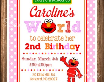 Elmo Invitations Girl Birthday Elmos World Invites Digital Invitation