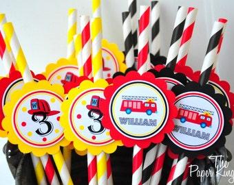 Firetruck Striped Paper Straws Birthday Party