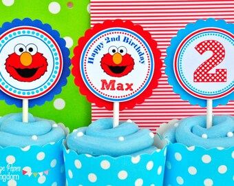 Elmo Cupcake Toppers Birthday Party Sesame Street