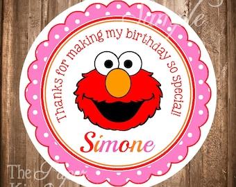Elmo Gift Tags, PRINTABLE Elmo Hang tags or Stickers, Girl Elmo Labels, Elmo Favor Tags, Personalized Elmo Stickers or Tags, YOU PRINT