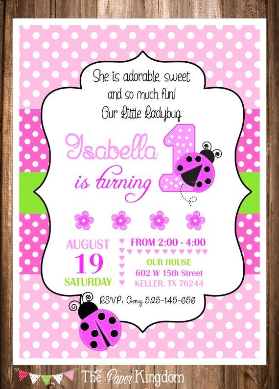 Ladybug Invitations Printable Ladybug Invitations Pink Etsy