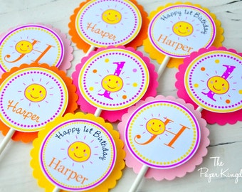 You are my Sunshine Cupcake Toppers, You are my Sunshine Birthday Party