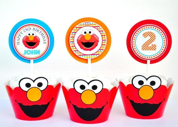 Elmo Cupcake Toppers, Elmo Birthday Party, Sesame Street Cupcake