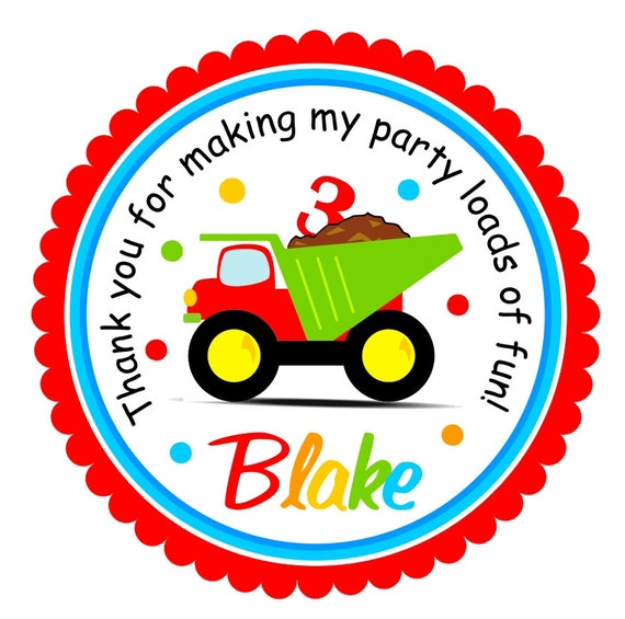 Dump Truck Stickers Construction Birthday Party