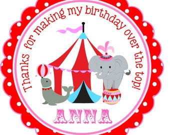 Carnival Stickers, Personalized Circus Stickers or Gift Tags, Under the Big Top Labels, Circus Birthday Party, Set of 12