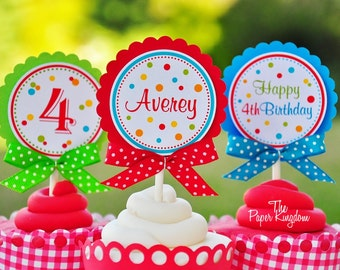 Cupcake Toppers with Bows, Polka Dot Cupcake Toppers in Primary Colors - Set of  12