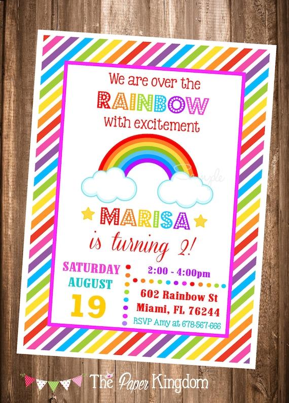 Rainbow Invitation Printable Rainbow Invites Over The Rainbow