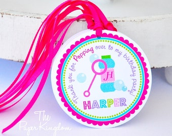 Bubbles Gift Tags, Blowing Bubbles Hang Tags, Bubbles Birthday Party - Set of 12