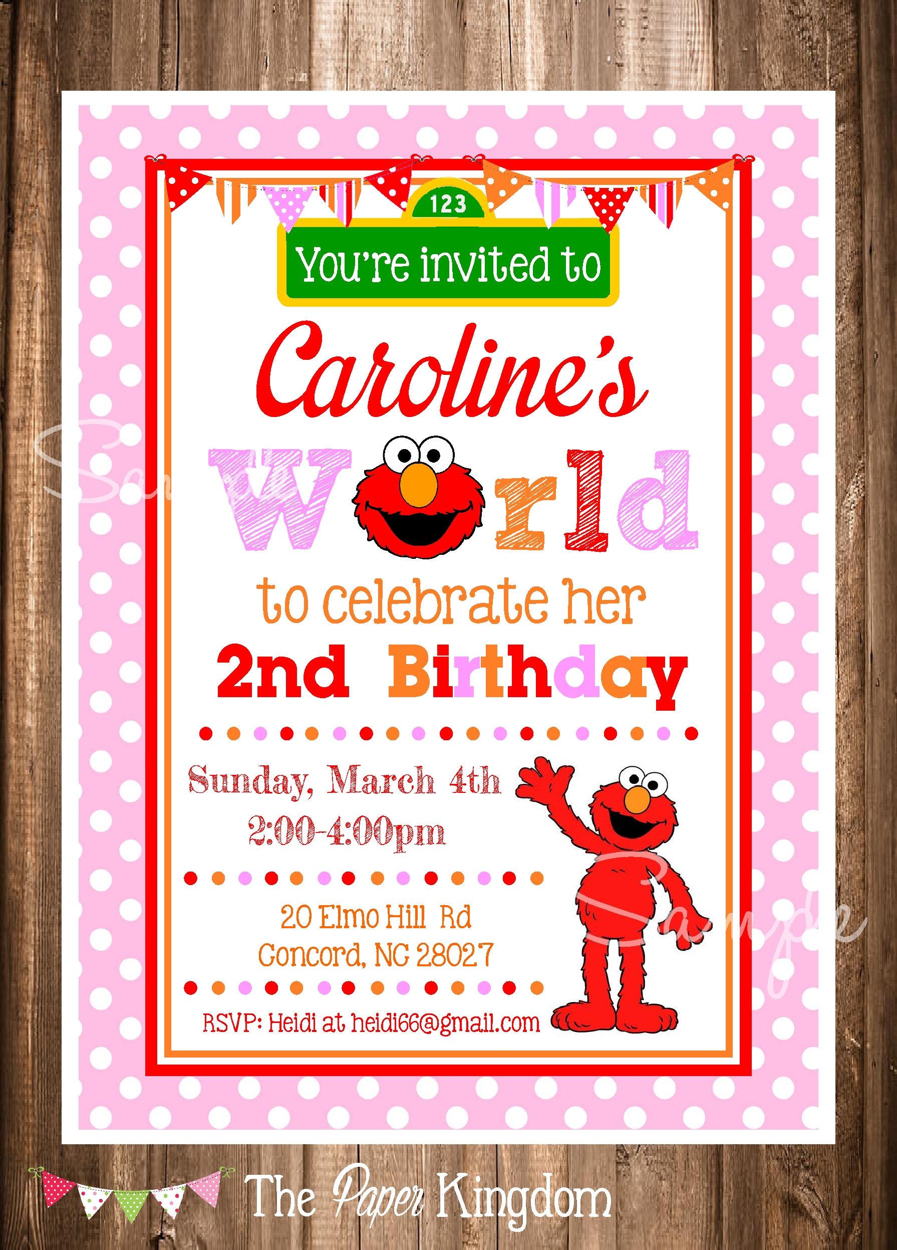 Elmo Invitations Girl Birthday Elmos