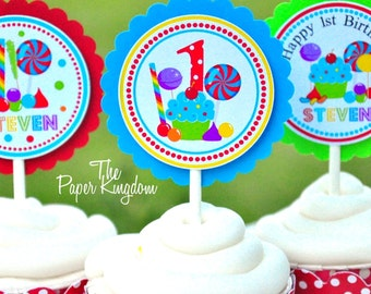 Candyland  Cupcake Toppers in Primary Colors, Boys or Girls, Sweet Shoppe, Candyland Birthday Party - Set of 12