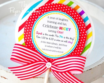 Lollipop Invitations in Primary Colors, Candyland Lollipop Invitations, Candyland Birthday Party, Candyland Invitations  - Set of 10