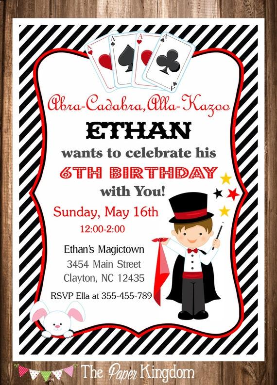 Magician Party Invitation Magic Birthday Invitation Etsy