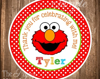 Elmo Gift Tags or Stickers, PRINTABLE Elmo Favor Tags, Elmo Birthday Party, Digital Elmo Gift Tags, Personalized Elmo Stickers - You Print