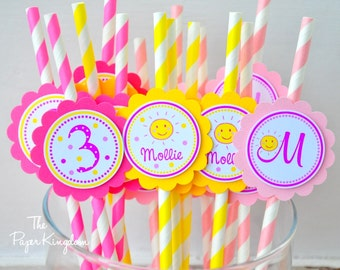 You are my Sunshine Striped Paper Straws, You are My Sunshine Birthday - Set of 12