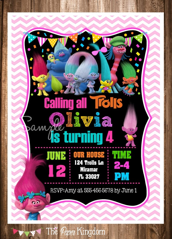 PRINTABLE Trolls Invitation Birthday